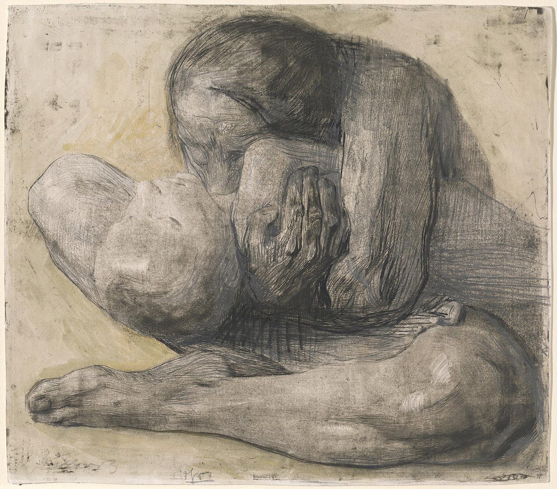 إمرأة وطفل ميت، رسم من العام ١٩٠٣، كايت كولفيتز