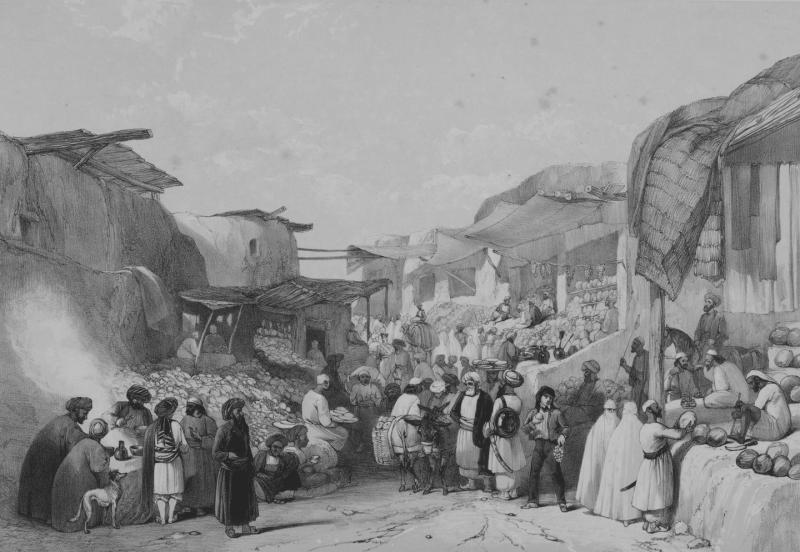 الشارع الرئيسي في بازار كابل، لويس الحاج، طباعة حجرية